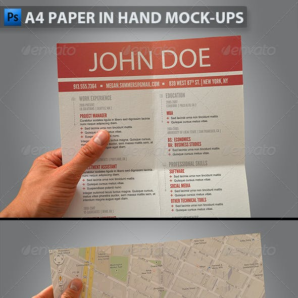 A4 Paper in Hand Mock-ups