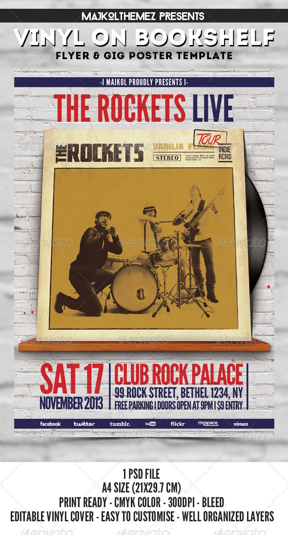 Vinyl on Bookshelf Gig Poster - Concerts Events