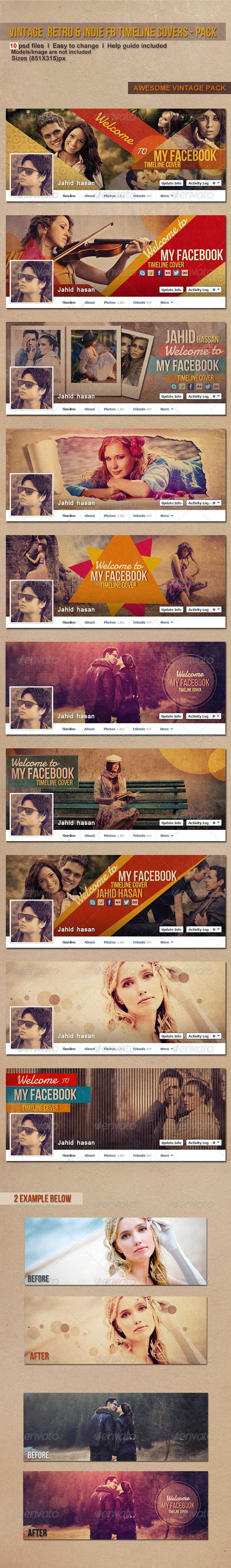 Vintage, Retro & Indie FB Timeline Covers - Pack - Facebook Timeline Covers Social Media