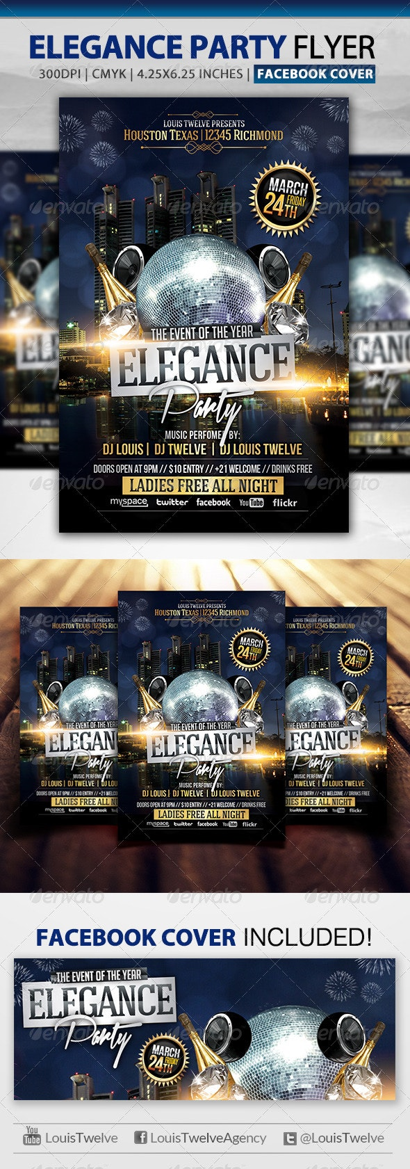 VIP Elegance Party | Flyer + Fb Cover - Clubs & Parties Events