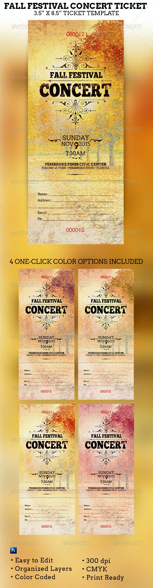 Fall Festival Concert Ticket Template - Miscellaneous Print Templates
