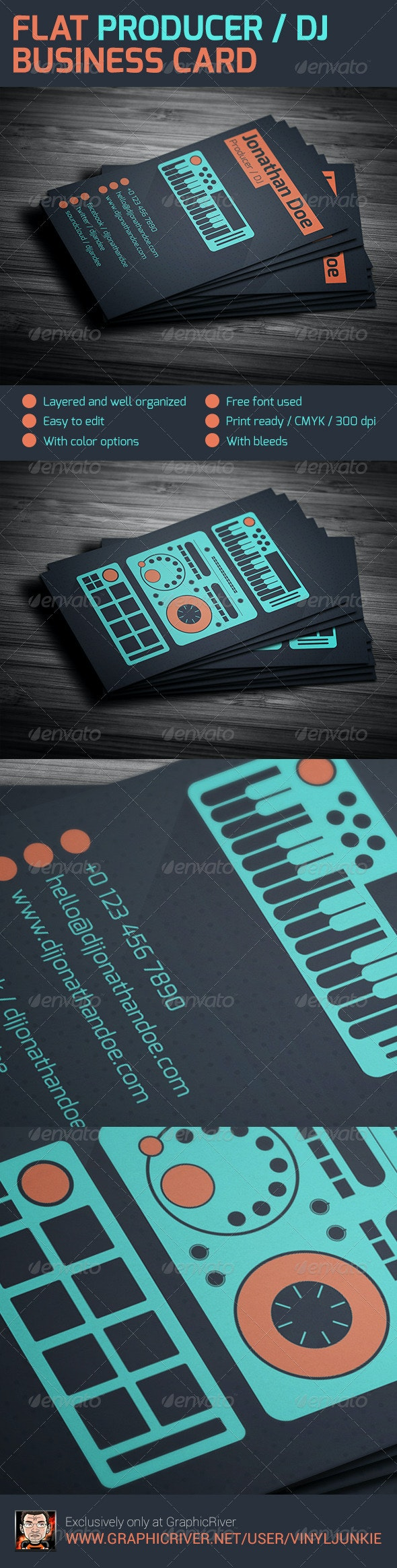 Flat Producer / DJ Business Card - Industry Specific Business Cards