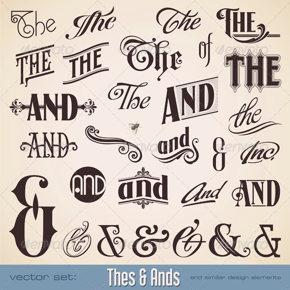 Ornate hand-lettered Thes and Ands