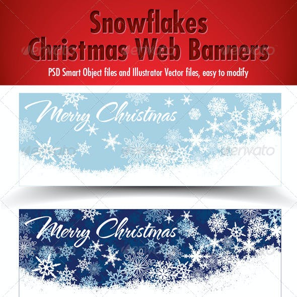 Snowflakes Christmas Web Banners - Three Colors