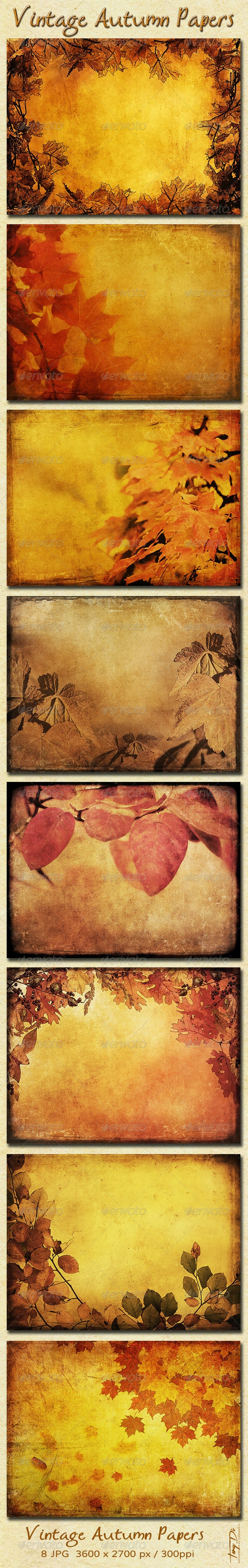 Vintage Autumn Papers with Leaves - Nature Backgrounds