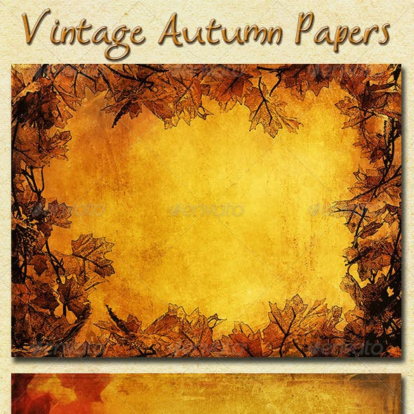 Vintage Autumn Papers with Leaves