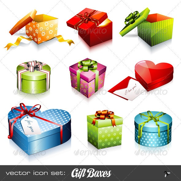 Vector Set: Colorful Giftboxes - Seasons/Holidays Conceptual