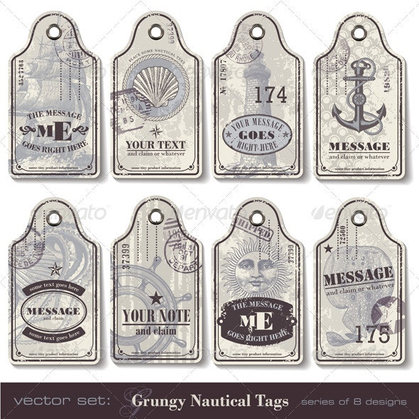 Grungy Nautical Tags - Travel Conceptual