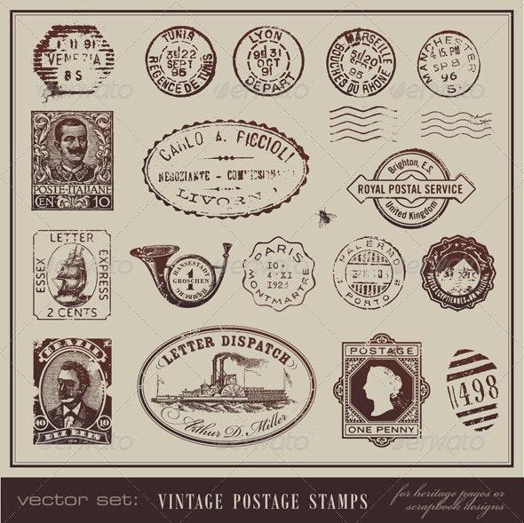 Vintage Postage Stamps - Decorative Vectors