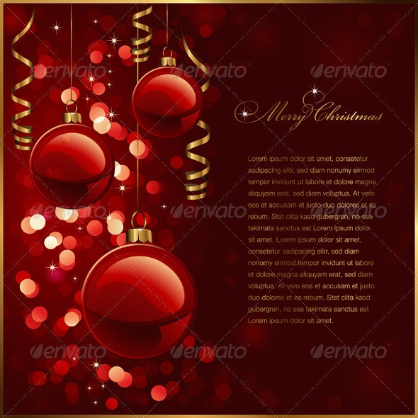 Red and golden christmas background - Christmas Seasons/Holidays