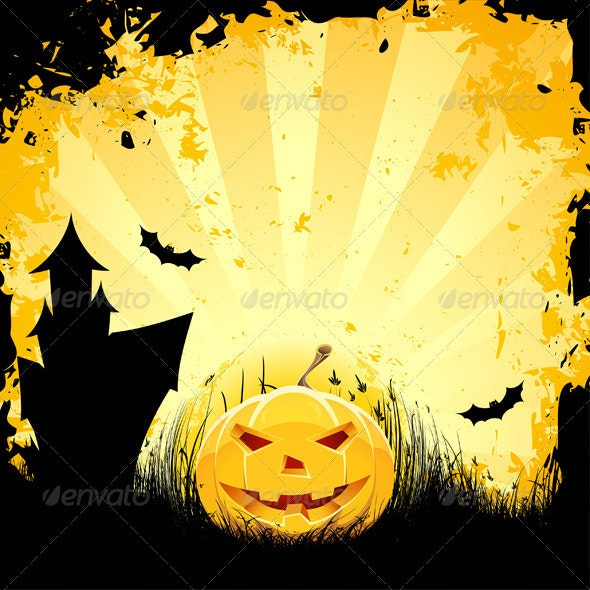 Grungy Halloween background with pumpkin house and - Halloween Seasons/Holidays