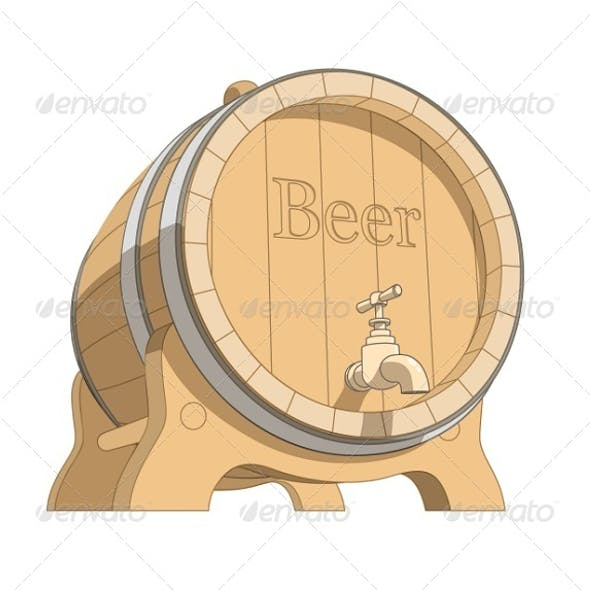 Wooden Tun with Beer