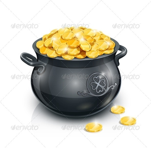 Pot with Gold Coin For Patrick's Day - Miscellaneous Seasons/Holidays