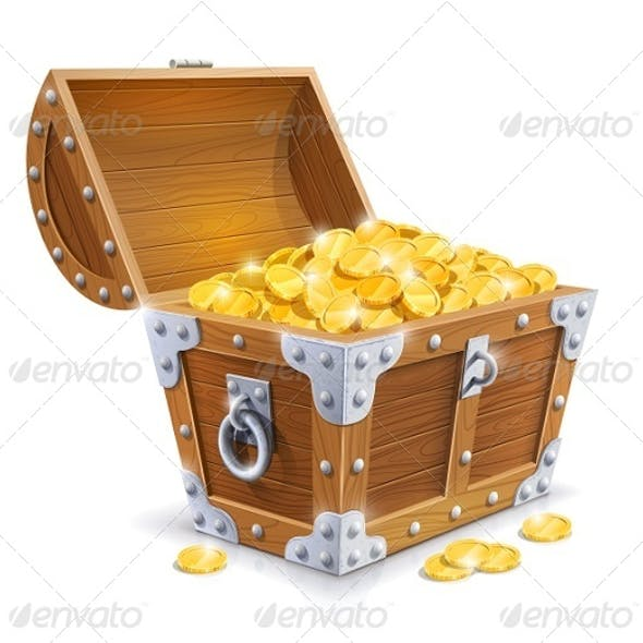 Vintage Wooden Chest with Golden Coin