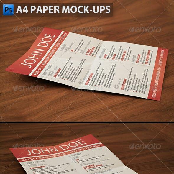 A4 Paper Mock-ups