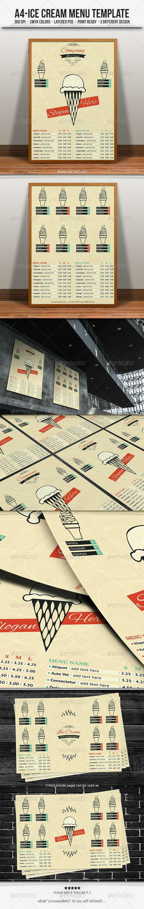 Ice Cream Menu/Flyer Template - Food Menus Print Templates