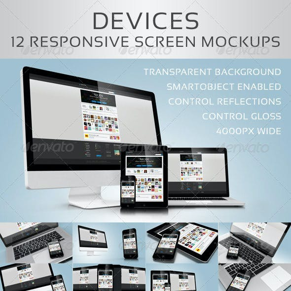 Devices - 12 Responsive Screen Mockups