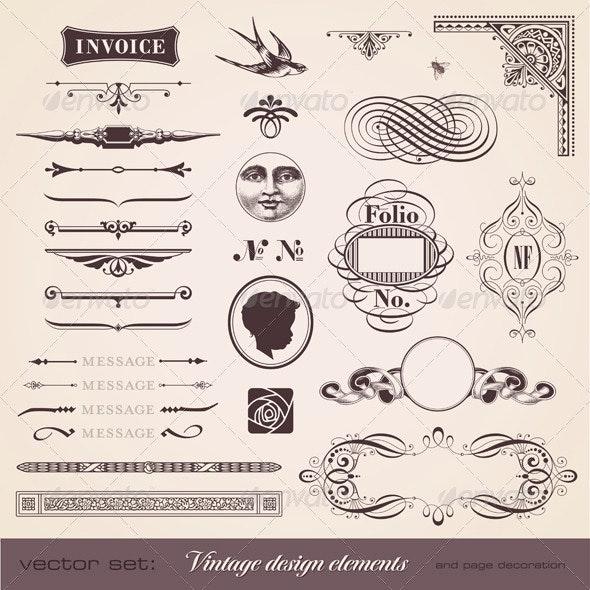 Vintage Design Elements and Page Decoration - Decorative Vectors