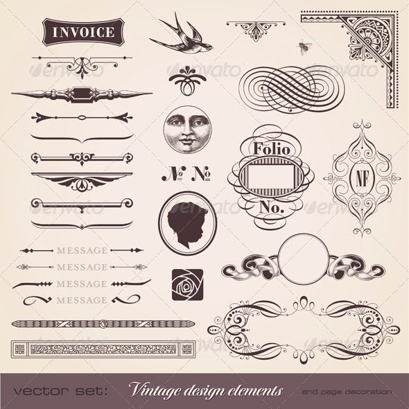 Vintage Design Elements and Page Decoration
