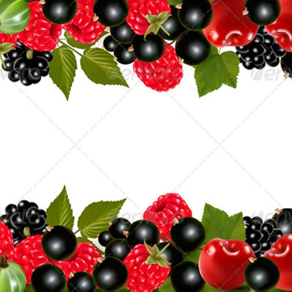 Background with Fresh Berries and Cherries.