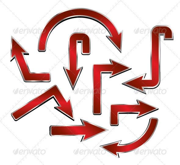 Red Metal Arrows - Decorative Symbols Decorative