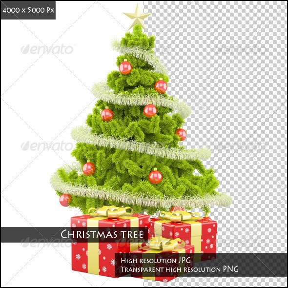 Christmas Tree with Christmas Gifts - 3D Backgrounds