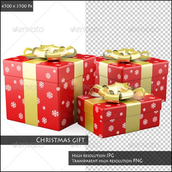 Three Red Christmas Gifts with a Golden Ribbons