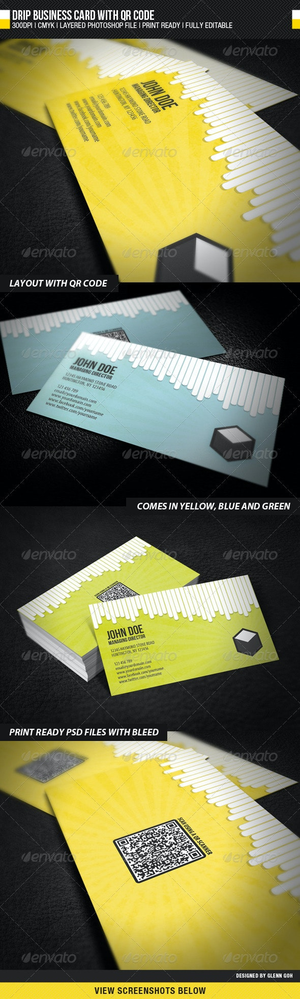 Drip Business Card With QR Code - Corporate Business Cards