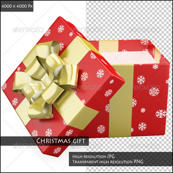 A Red Christmas Gift with a Golden Ribbon - 3D Backgrounds