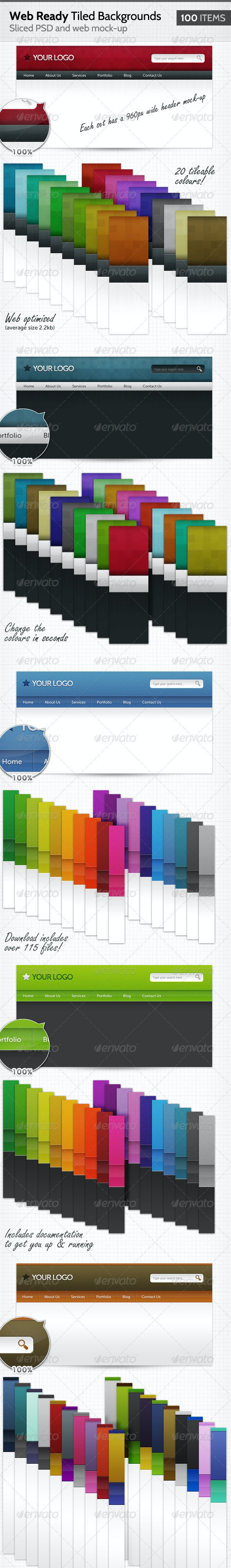 100 Web Ready Tiled Backgrounds - Web Elements