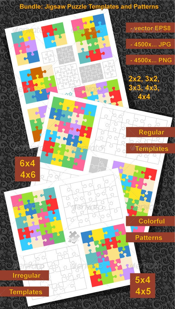 Bundle of Puzzle Templates and Patterns - Abstract Conceptual