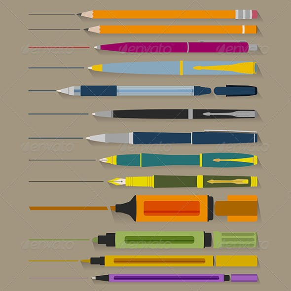 Set of Pencils Pens and Markers