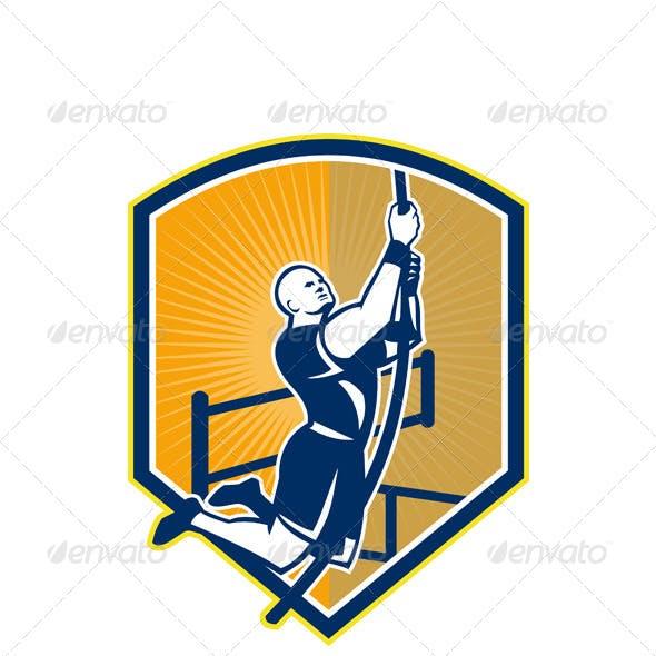 Cross-fit Athlete Rope Climb Retro