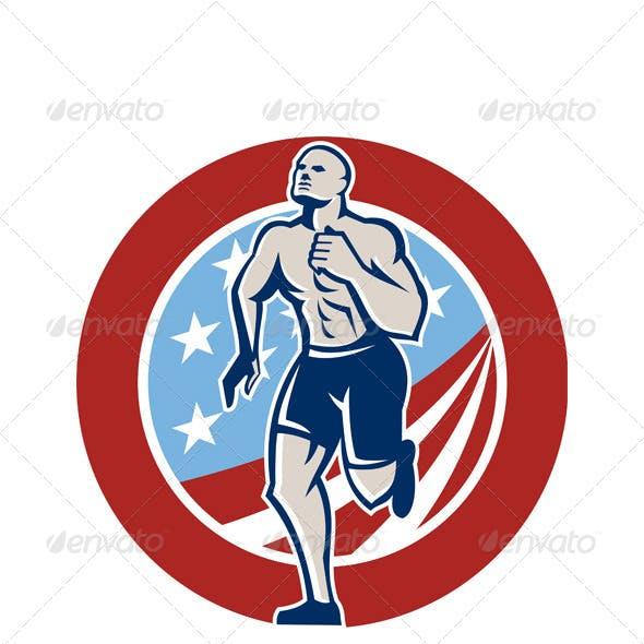 American Crossfit Runner Running Retro