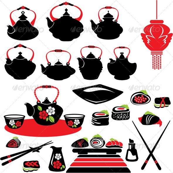 Set of Asian Food Icons - Teapot, Sushi