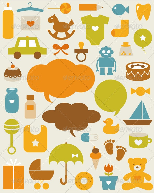 Set Of Baby Icons - Backgrounds Decorative