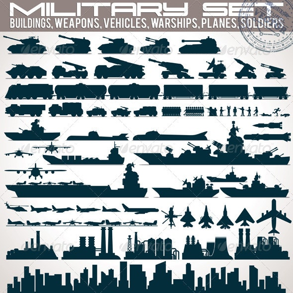 Military Icons Set. Collection of Silhouettes - Concepts Business
