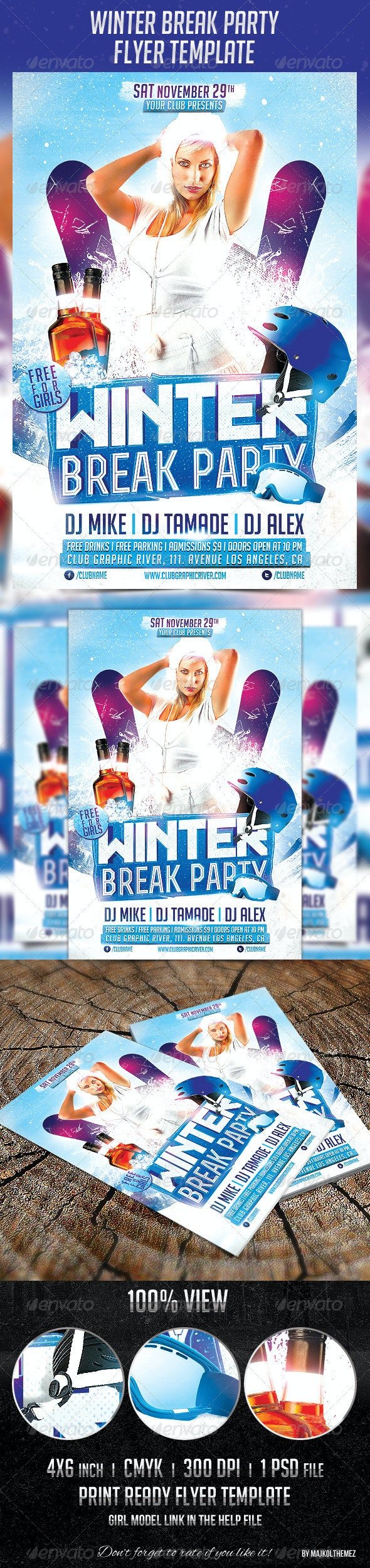 Winter Break Party Flyer Template - Holidays Events