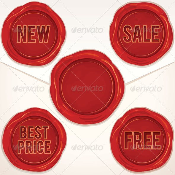 Set Red Wax Seal, Stamp - Vector