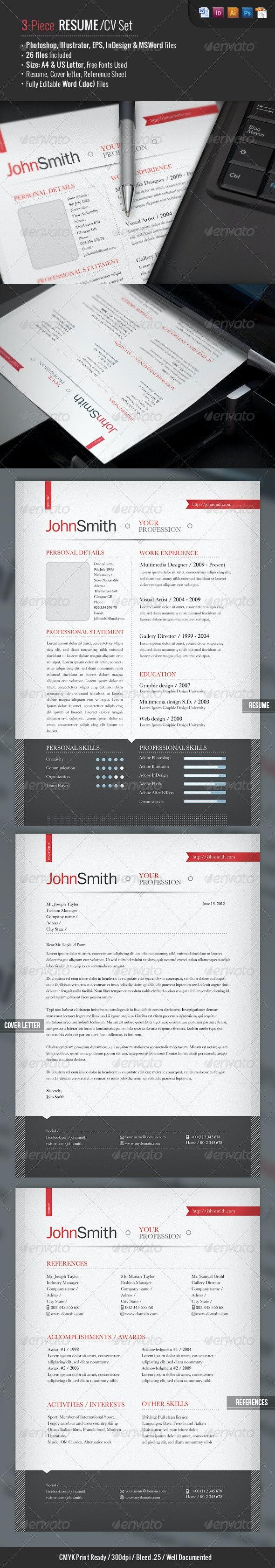 Ready 3-Piece Resume/CV Set - Resumes Stationery