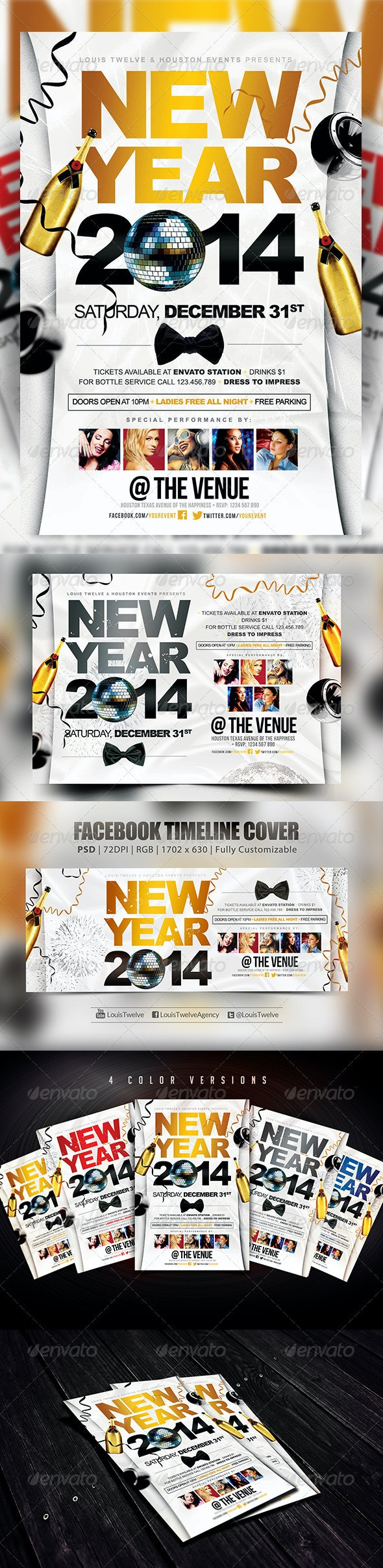 New Year Party | Flyers + FB Cover - Holidays Events