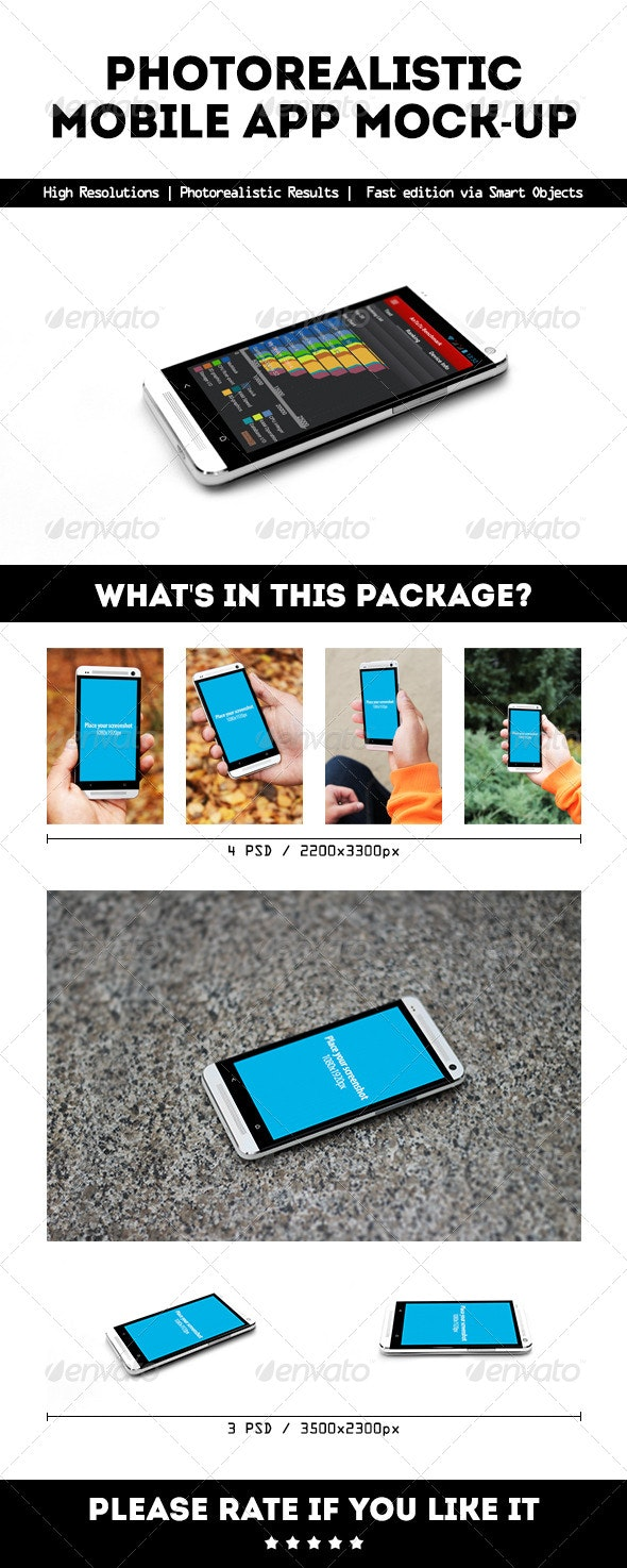Photorealistic Mobile App Mock-Up - Mobile Displays