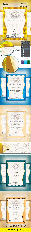 Gold Life Multipurpose Certificates 002 - Certificates Stationery