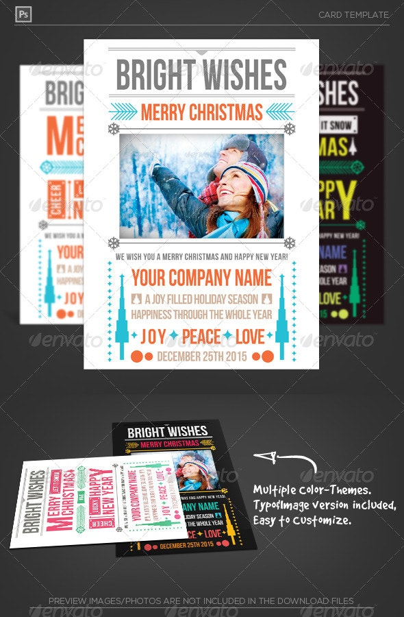 Merry Christmas Typo Greeting - Holiday Greeting Cards