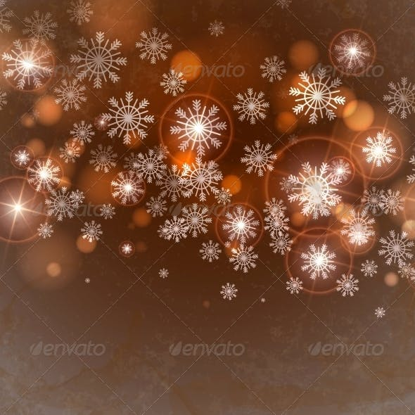 Brown Background with Snowflakes.