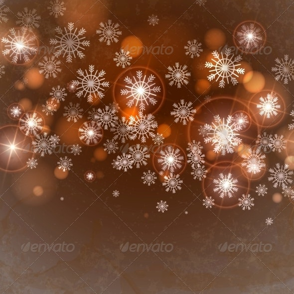 Brown Background with Snowflakes. - Christmas Seasons/Holidays
