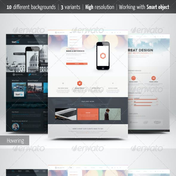 Web Page Presentation Mockup with Studio Backdrops