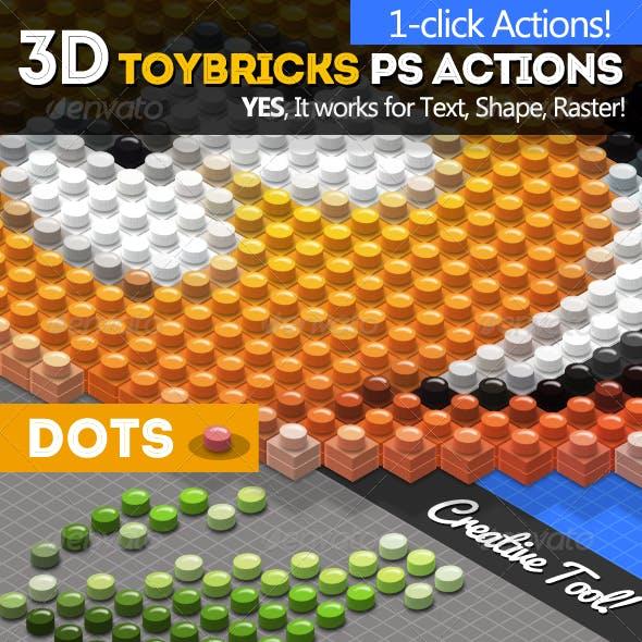3D Isometric Toy Bricks Photoshop Actions