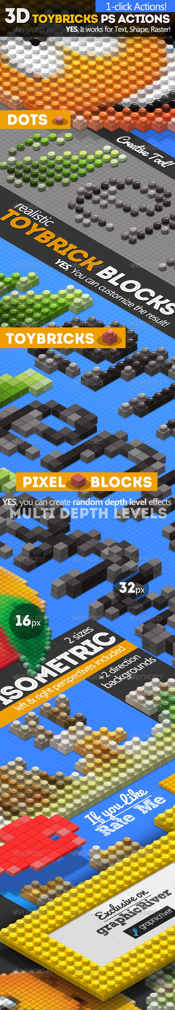 3D Isometric Toy Bricks Photoshop Actions - Utilities Actions