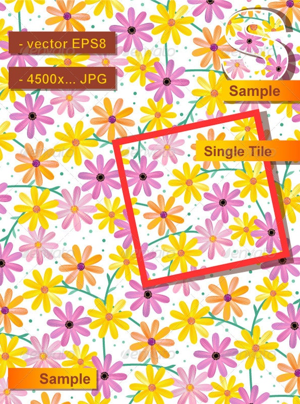 Seamless Gerber Daisy Pattern - Flowers & Plants Nature